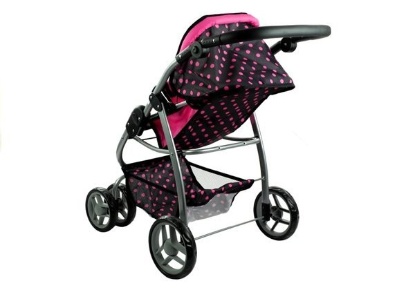 2in1 Doll Bogie and Stroller Alice - Black With Pink Dots