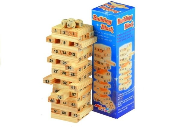 54pcs Wooden Tumbling Jenga Tower Blocks Game+Dice