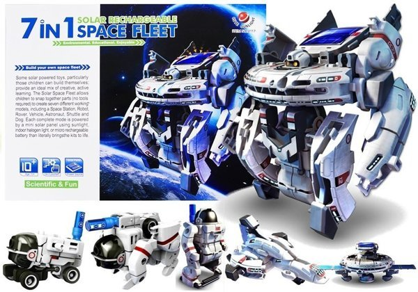7 in 1 Educational Solar Rechargeable Space Fleet Ship DIY Robot Kit Toys