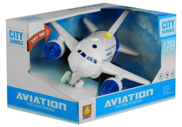 Airplane Battery Powered with Lights White 1:200