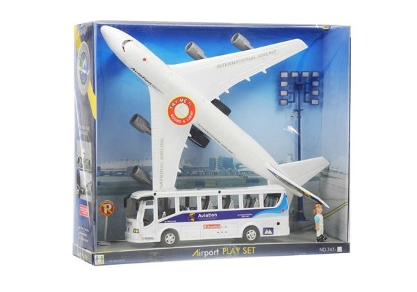 Airport Play Set - Aircraft, Bus & Accessories - Battery Powered