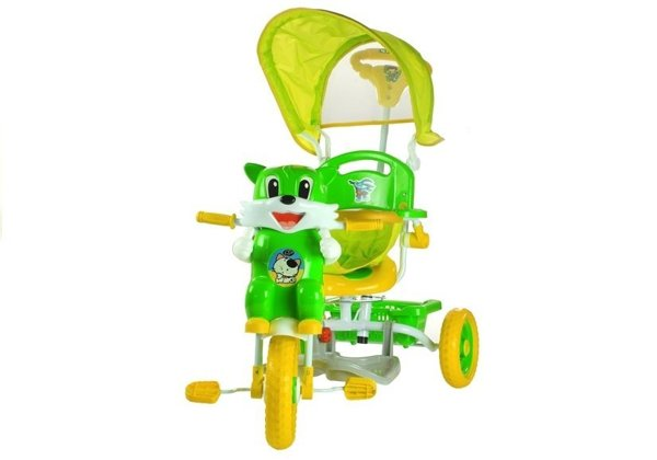 Baby Toddler Child Tricycle Trike Scooter With Sounds Parent Handle Awning Green