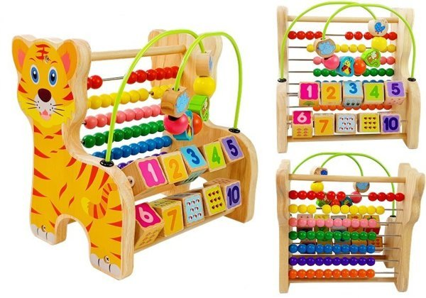 Educational Wooden Abacus Tiger Shape Numbers