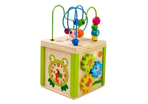 Educational Wooden Cube with Maze and Beads