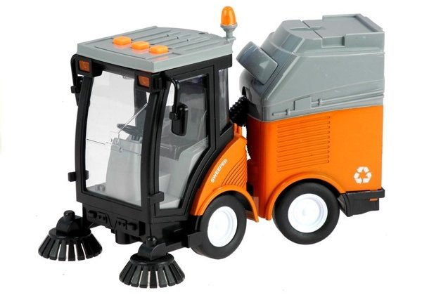 Garbage Truck Sweeper With Moving Elements.