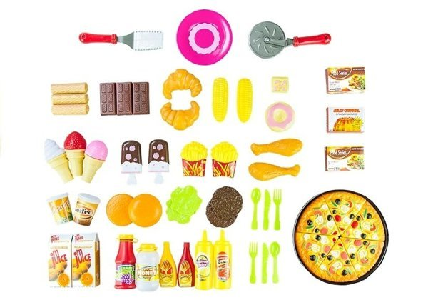 Grocery Set 82 PCS Artificial Food Roleplay Pizza Kids Pretend Role Play Kitchen
