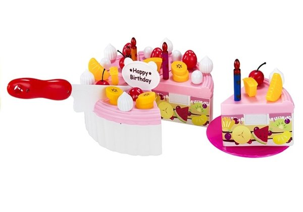 Luxury Fruit Cake Realistic Safe Cutting Sweets Birthday Velcro