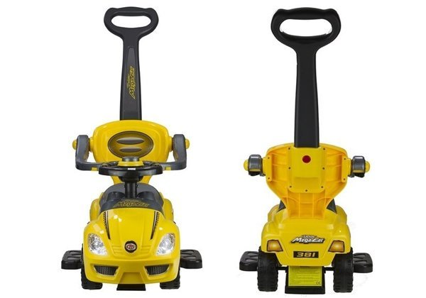 MEGA CAR Manual Ride On with Parent Handle - Yellow