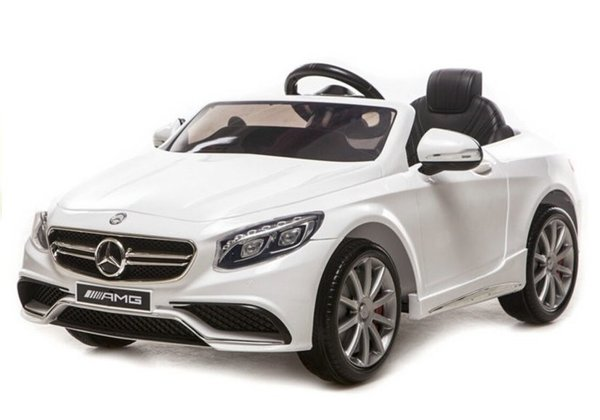 Mercedes S63 AMG White - Electric Ride On Car - Rubber Wheels Leather Seat RC