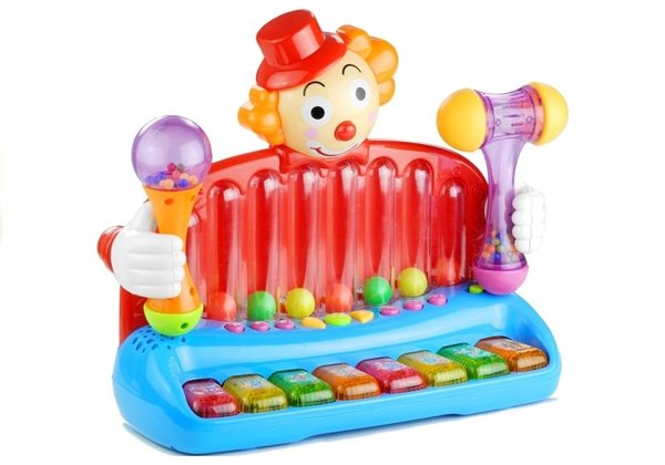 Toy Baby Piano Clown Organ Rattles Balls Hammer