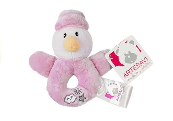 Soft Baby Rattle Duck Pink