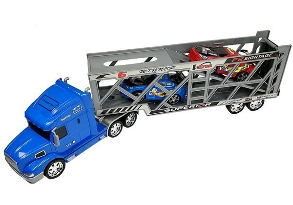 Transporter Truck 1:24 Blue with 2 cars