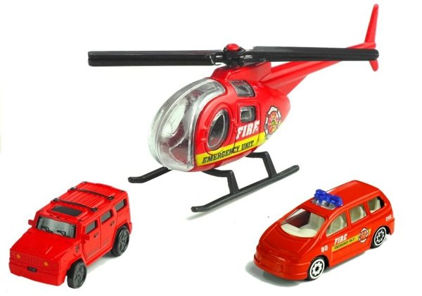 Vehicles of Fire Brigade+ Lane 380 cm+ Helicopter
