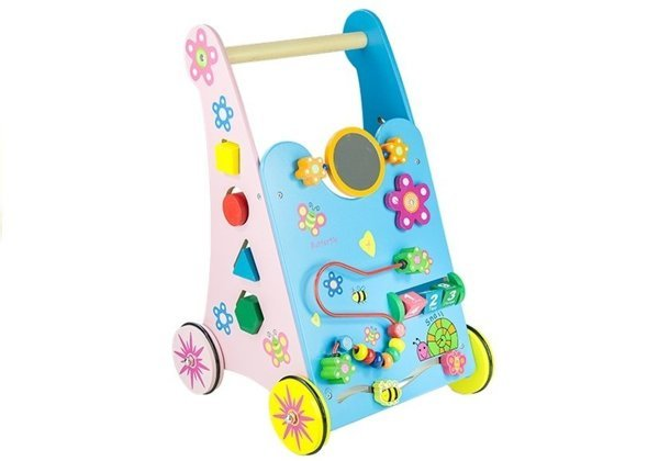 Wooden Baby Walker Push Along with Mirror