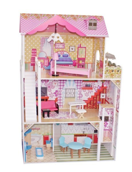 "Wooden Dolls House ""Natalie"" Multi-Storey with 4 Rooms"