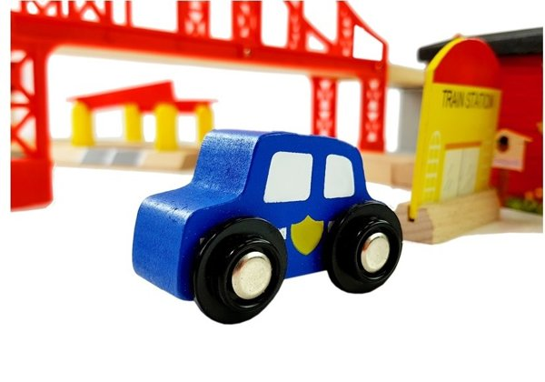 Wooden Street Track with Cars and Accessories